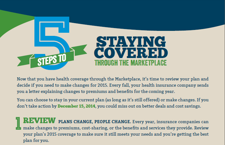 REFORM UPDATE: 5 Steps to Staying Covered in the Marketplace